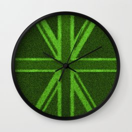 Grass Britain / 3D render of British flag grown from grass Wall Clock