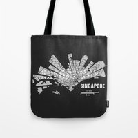 singapore Tote Bags featuring Singapore Map by Shirt Urbanization