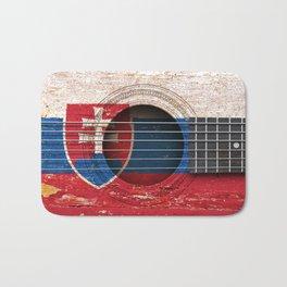 Old Vintage Acoustic Guitar with Slovakian Flag Bath Mat