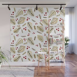 Christmas tree branches and berries - ochre and red Wall Mural