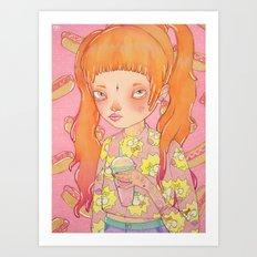 Orange Fluffy Art Print