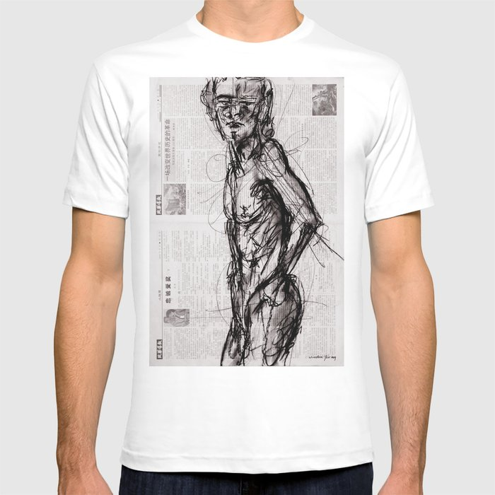 be2ffcb44 Saint - Charcoal on Newspaper Figure Drawing T-shirt by torr | Society6
