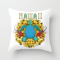 hawaii Throw Pillows featuring Hawaii by Renee Ciufo