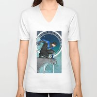 nightwing V-neck T-shirts featuring Nightwing Nouveau by stoopz