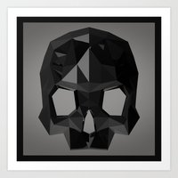 low poly Art Prints featuring Black skull low poly by Daniel Delgado