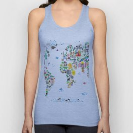 Animal Map of the World for children and kids Unisex Tank Top