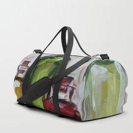 Still life, oil bottles, art, original painting Duffle Bag