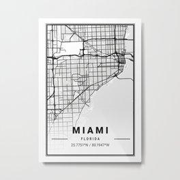 Miami Light City Map Metal Print