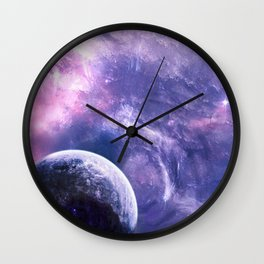 Violet Planet Wall Clock