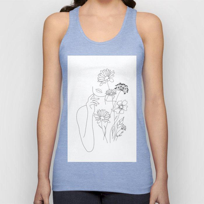 Minimal Line Art Woman with Flowers III Unisex Tanktop