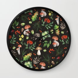 Watercolor Forest Mushrooms, Leaves, Flowers Wall Clock