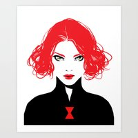 black widow Art Prints featuring Black Widow by Irene Flores