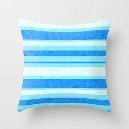 Bright Blue Grunge Stripes Texture Throw Pillow