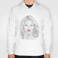 kate moss Hoodies featuring Kate Moss by Kim Jenkins