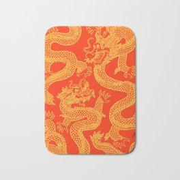 Red and Gold Battling Dragons Bath Mat