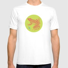 Frog vs. Dragonfly White Mens Fitted Tee MEDIUM