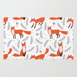 Red foxes and berries in the winter forest Rug