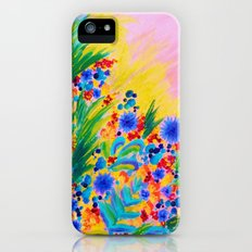 NATURAL ROMANCE in PINK - October Floral Garden Sweet Feminine Colorful Rainbow Flowers Painting Slim Case iPhone (5, 5s)