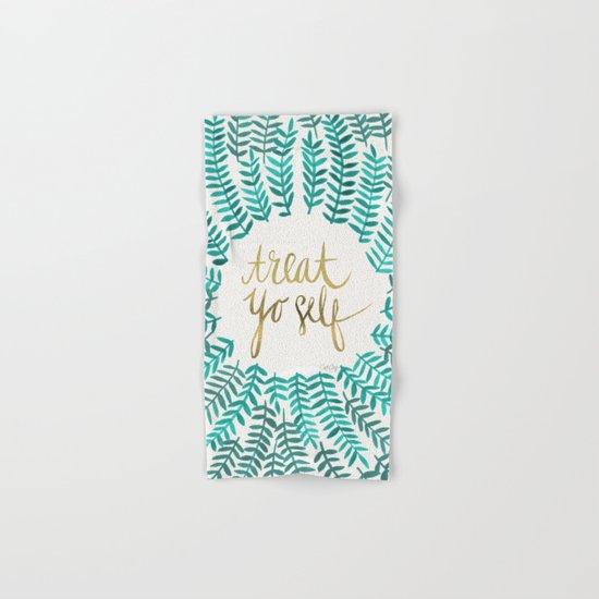Treat Yo Self – Gold & Turquoise Hand & Bath Towel