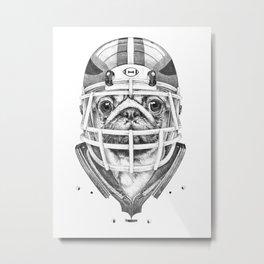 American Pug Football Metal Print