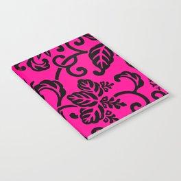 Hot Pink & Black Japanese Leaf Pattern Notebook