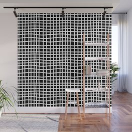 black and white random cross hatch lines checker pattern Wall Mural