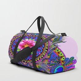 PINK & BLUE PEACOCK MANDALA WITH  FUCHSIA FLOWER Duffle Bag