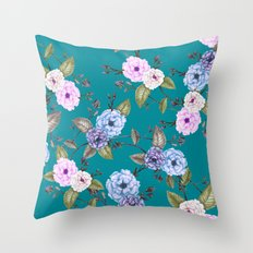 Climbing Roses Pink Blue Lilac on Teal Throw Pillow