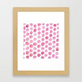 Pink Polka Dot Watercolour Framed Art Print