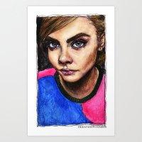 cara delevingne Art Prints featuring Cara Delevingne:) by vooce & kat