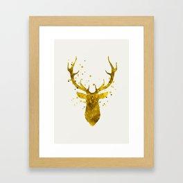 Gold Deer Framed Art Print