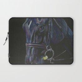 Black Horse Portrait Laptop Sleeve