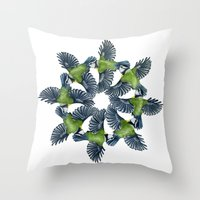 tits Throw Pillows featuring Circling Blue Tits by BridJess