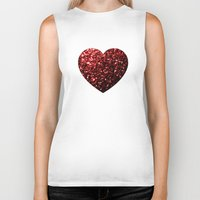 sparkles Biker Tanks featuring Red Glitter sparkles Heart  by PLdesign