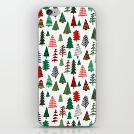 Christmas tree forest minimal scandi patterned holiday forest winter iPhone Skin
