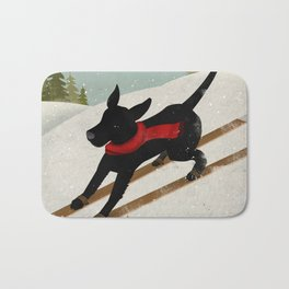Black Dog Labrador Ski Mountain Bath Mat