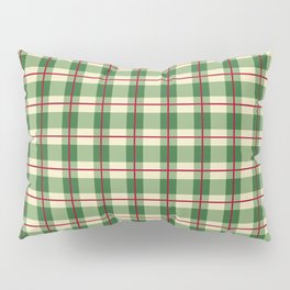 Plaid Pattern in Green and Beige Pillow Sham