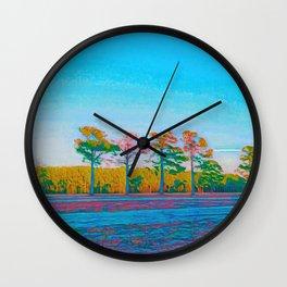 Watercolor Tree Line Tropical Paradise Wall Clock