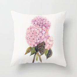 watercolor pink hydrangea Throw Pillow