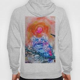 """G0d king owl"" animal art , bird art . Surrealism Hoody"