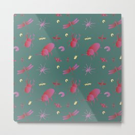 Insects are coming to town / Pink + Gold / Metal Print