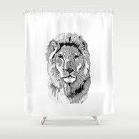 nfl Shower Curtains featuring Animal Prints - Proud Lion - By Sharon Cummings by Sharon Cummings