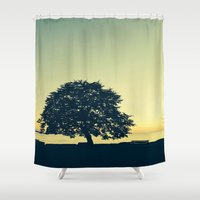 stanley kubrick Shower Curtains featuring Sundown at Stanley Park by Alicia Gomez