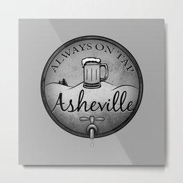 Asheville Beer - Always On Tap - AVL 22 Grunge B&W Metal Print