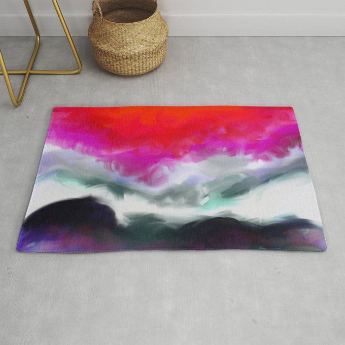 Abstract in Red, White and Purple Rug