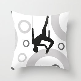 Trapeze Rings black and white Throw Pillow