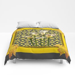 Charcoal Grey-Gold White Calla Lilies Comforters