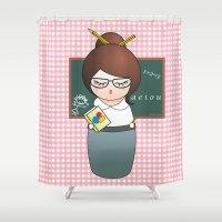 teacher Shower Curtains featuring Kokeshi Teacher  by Pendientera
