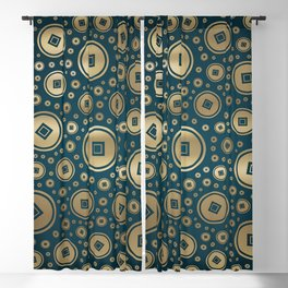 Lucky Gold Chinese coins pattern on dark teal Blackout Curtain