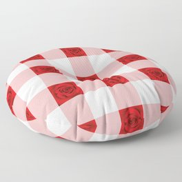 Red Rose Check Pattern Floor Pillow